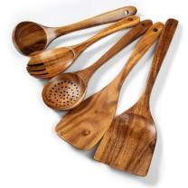 Wooden Kitchen Utensils Set, 5 PCs Natural Acacia Wooden Cooking Spurtle Set for Non-stick Pan Kitchen Tool Cooking Ladle and Wok Spatulas, Wooden Spoons for Cooking Salad fork