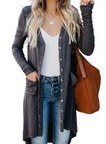 Long Cardigan Sweaters for Women Lightweight - Long Sleeve Button Down Solid Knited Cardigans with Pockets