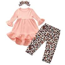 Toddler Baby Girl Long Sleeve Ruffle Dress Tops + Leopard Pants + Headband Outfit 3Pcs Sets