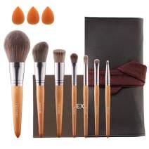 TEXAMO Makeup Brush Set for Quality Synthetic Powder Foundation Eyeshadow Blending Make Up, High End Travel Leather Bag, Kit of 7 & 3 Sponges