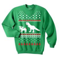 T-Rex Attacking Moose Christmas Ugly Sweater Funny Holiday Hilarious Adult Humor