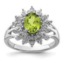 925 Sterling Silver Green Peridot Diamond Band Ring Stone Gemstone Fine Jewelry For Women Gift Set