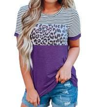 Women Animal Print Tops Leopard Stripe Casual Summer Short Sleeve Shirts