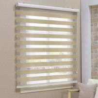 Keego Window Blinds Custom Cut to Size, Blackout Sand Zebra Blinds with Dual Layer Roller Shades, [Size W 59 x H 48] Dual Layer Sheer or Privacy Light Control for Day and Night, 12 to 94 Wide