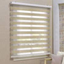Keego Window Blinds Custom Cut to Size, Blackout Sand Zebra Blinds with Dual Layer Roller Shades, [Size W 38 x H 60] Dual Layer Sheer or Privacy Light Control for Day and Night, 12 to 94 Wide
