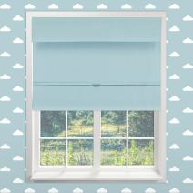 """Chicology Cordless Magnetic Roman Shades / Window Blind Fabric Curtain Drape, Thermal, Room Darkening - Baby Blue, 48""""W X 64""""H"""