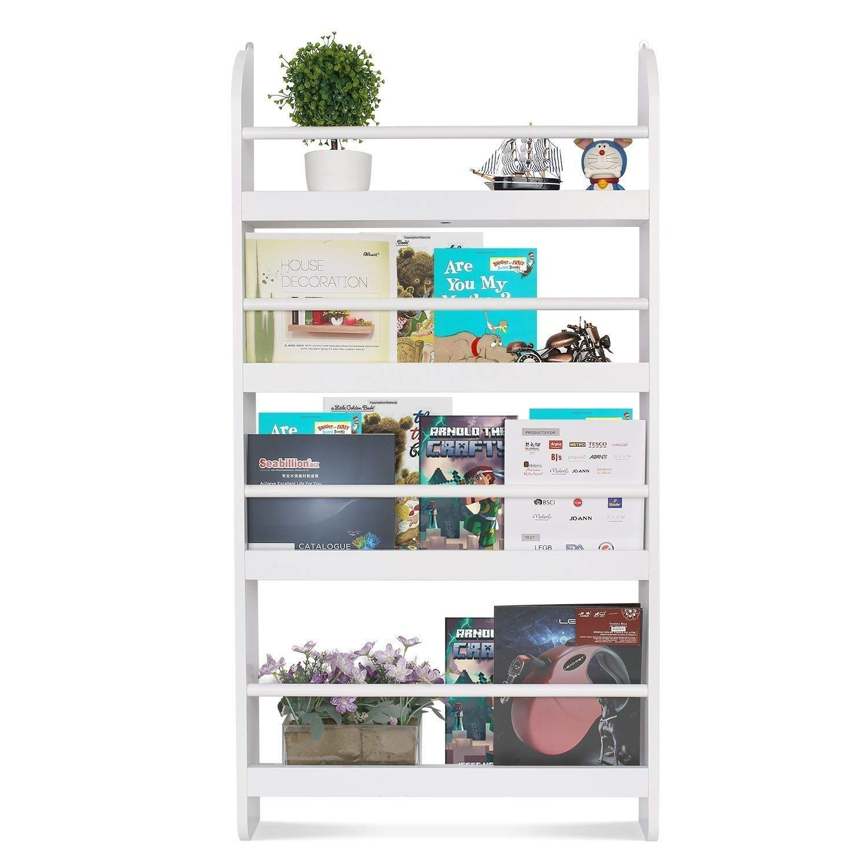 Homfa Kids Bookshelf, 4-Tier Children's Bookcase Rack Wall Mountable Floating Display Storage Shelves, Organizer Holder Stand for Books Toys in Study Living Room Bedroom, 23.2L x 4.7W x 44.5H, White