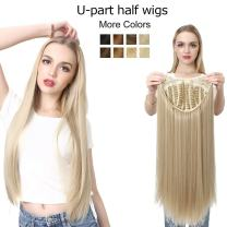 """Clip in U part Half Wig For White Women Ash Blond Silky Straight Long Hair Extensions Synthetic Hairpiece Full Head Thick 1Pc Cosplay Hair Wigs Heat Friendly Fiber 28"""" UW02&16H613"""