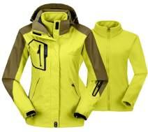 TBMPOY Women's 3-in-1 Winter Ski Jacket Outdoor Waterproof Snowboarding Coats with Inner Warm Fleece Coat