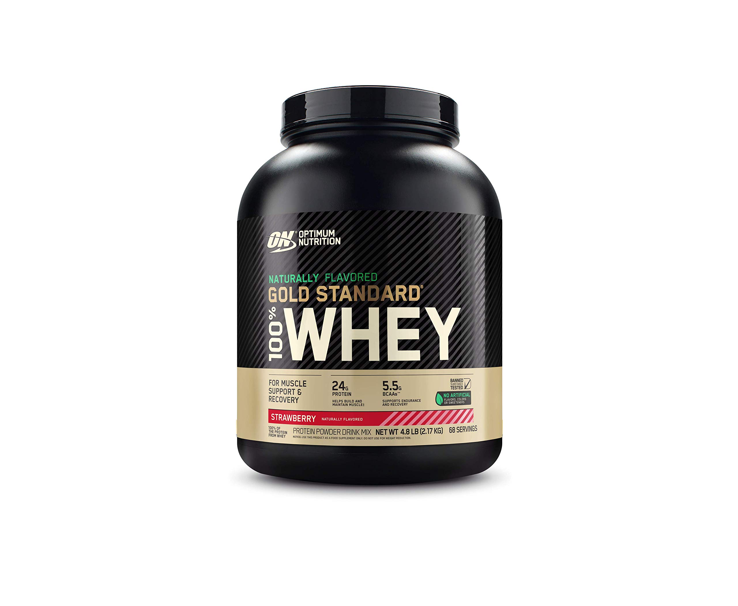 Optimum Nutrition Gold Standard 100% Whey Protein Powder, Naturally Flavored Strawberry, 4.8 Pound (Packaging May Vary)