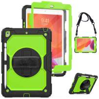 """iPad 7th Generation Case,iPad 10.2 Case 2019 with Pencil Holder&Screen Protector,Heavy Duty Droppoof Durable Rugged Protective Case Cover with Hand/Shouder Strap&Stand for Kids,iPad 10.2""""7th Gen,Green"""