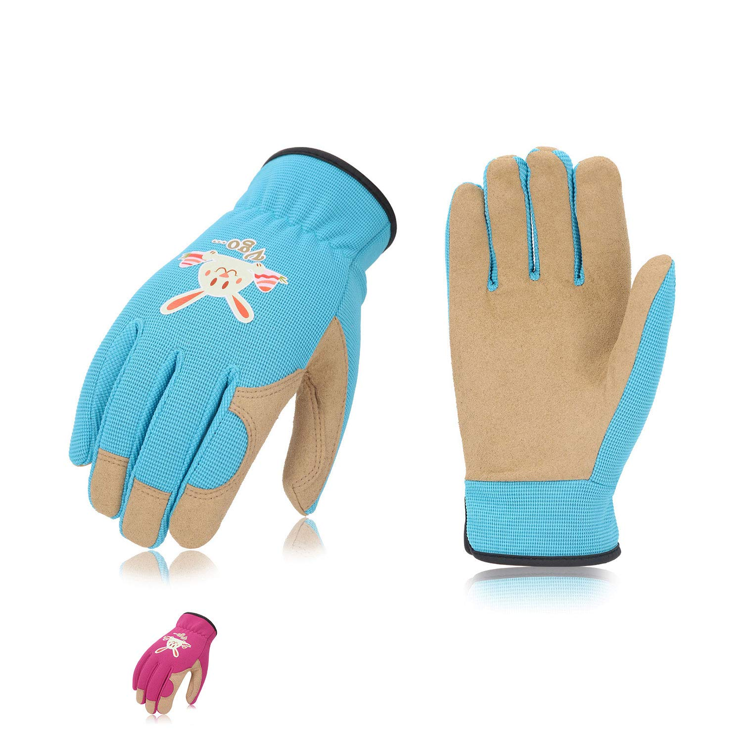 Vgo 2Pairs Age 3-4 Kids Gardening, Lawning, Working Gloves(Size XS, 2Colors, KID-SL7362)