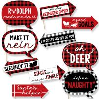 Funny Prancing Plaid - Christmas & Holiday Buffalo Plaid Party Photo Booth Props Kit - 10 Piece
