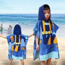 SearchI Hooded Beach Towels for Kids Toddlers Boys Girls 1 to 6 Years Old, Soft Absorbent Cotton Fast Drying Poncho Bath Towel for Swim Pool, Blue 24 x 24 Inches