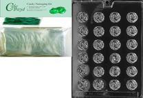 Cybrtrayd Bite Size Roses Fruits and Vegetables Chocolate Candy Mold with Packaging Bundle of 50 Cello Bags, 50 Green Twist Ties and Chocolate Molding Instructions