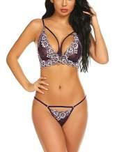 BEAUSOM Women's Lace Lingerie 2 Piece Bra and Panty Set Strappy Babydoll Bodysuit