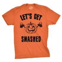 Mens Lets Get Smashed Funny T Shirts Pumpkin Halloween Costume T Shirt