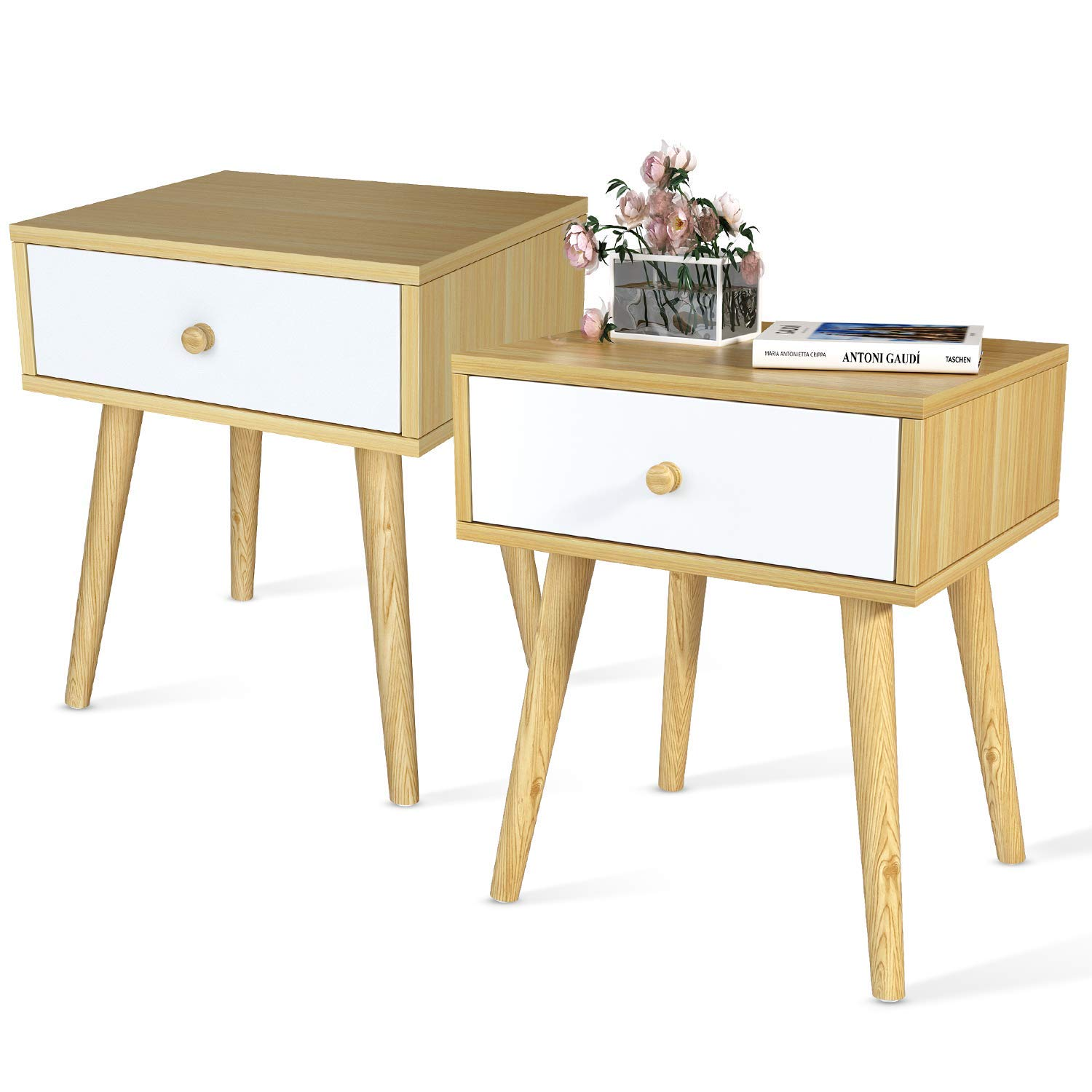 Recaceik Nightstand -Set of 2, Stackable End Table, Side Table for Small Spaces, Storage Compartment, Industrial Accent Furniture, Wood Frame for Bedroom Furniture