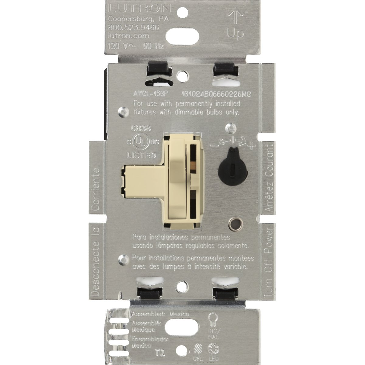 Lutron AYCL-253P-IV LED+ Dimmer Switch, Ivory
