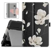 Dadanism Folio Case Fits All-New Amazon Fire 7 Tablet (9th Generation, 2019 Release), Premium PU Leather Lightweight Slim Shockproof Smart Stand Cover with Auto Wake/Sleep - Black & White Magnolia