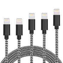 iPhone Charger 5 Pack 3FT/3FT/6FT/6FT/10FT iPhone cables MFi Certified Lightning Cable Nylon Braided USB Charging & Syncing Cord Compatible iPhone Xs/Max/XR/X/8/8Plus/7/7Plus/6/6S Plus/SE/iPad