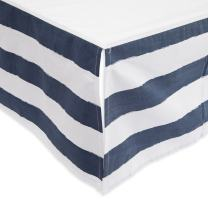 "Little Unicorn Percale Crib Skirt – 52"" x 28"" x 12"" – 100% Cotton Percale - Machine Washable – Lightweight – Playful Designs – 4 Sided Double Layered Panel - for Boys & Girls (Navy Stripe)"