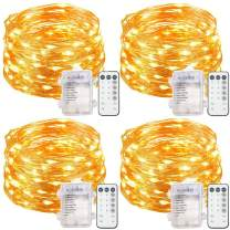 4 Set Fairy Lights Battery Operated String Lights, Upgraded Waterproof 8 Modes 20ft 60 LED Copper Wire Lights with Remote Timer, Twinkle Firefly Lights for Bedroom Wedding Party Decor (Warm White)