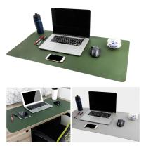 """Large Leather Desk Mouse Pad, Desk Pad Protecter 31.5"""" x 15.7"""" PU Leather Mouse Mat Non-Slip Comfortable Gaming Writing Mat Dual Use Office Desk Mat (Green &Gray)"""