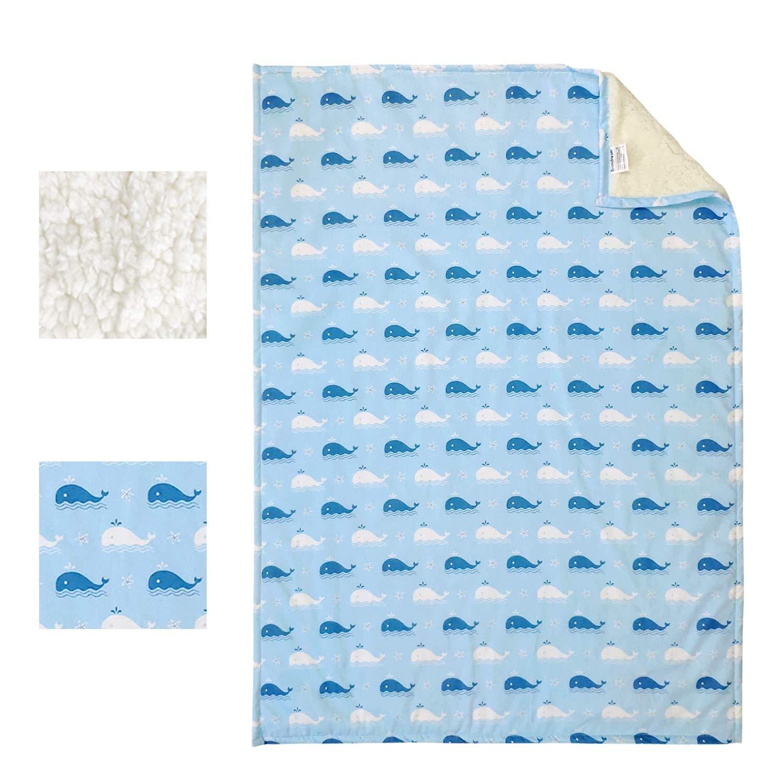 "Brandream Baby Boys Crib Blanket Ocean Whale Nursery Bedding Navy Blue Newborn Fish Cotton Blanket 28""x40"", Nautical Anchor Theme"