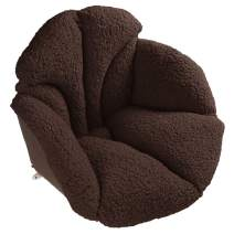 Hughapy Chair Cushions Desk Seat Cushion Warm Comfort Sherpa Wool Seat Cushion Pad for Support Waist Backrest, Winter Plush Cushion for Home Office Chair, Car Seat (Sherpa  19Wx16Lx15H, Coffee)