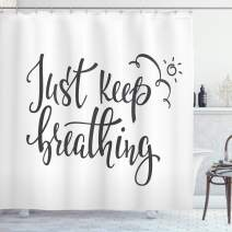 """Ambesonne Just Breathe Shower Curtain, Just Keep Breathing Phrase Hand Writing with Sun and Clouds Doodle, Cloth Fabric Bathroom Decor Set with Hooks, 84"""" Long Extra, Charcoal Grey"""