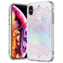MOSNOVO Gradient Rainbow Henna Mandala Pattern Designed for iPhone Xs Case/Designed for iPhone X Case,Clear Case with Design Girls Women,TPU Bumper with Protective Hard Case Cover