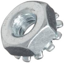 Steel Hex Nut, Zinc Plated Finish, Grade 2, Self-Locking Toothed Washer, Right Hand Threads, #4-40 Threads (Pack of 100)