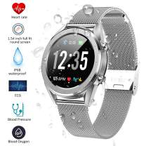Smartwatch, Kivors Bluetooth Smart Watch Touch Screen with Multiple Sports Modes, with Heart Rate Monitor, Calorie Monitor,Pedometer, Sleep for Android and iOS (Silver Steel Strip)