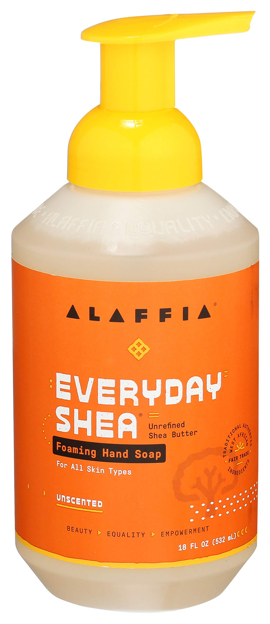Alaffia Everyday Shea Foaming Hand Soap - For Sensitive Skin, Gently Helps Clean, Moisturize, and Soften Hands with Shea Butter, Neem, and Coconut Oil, Fair Trade, Unscented, 18 Ounces