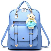 Backpack Purse for Women Large Capacity Leather Shoulder Bags Cute Mini Backpack for Girls,Light blue