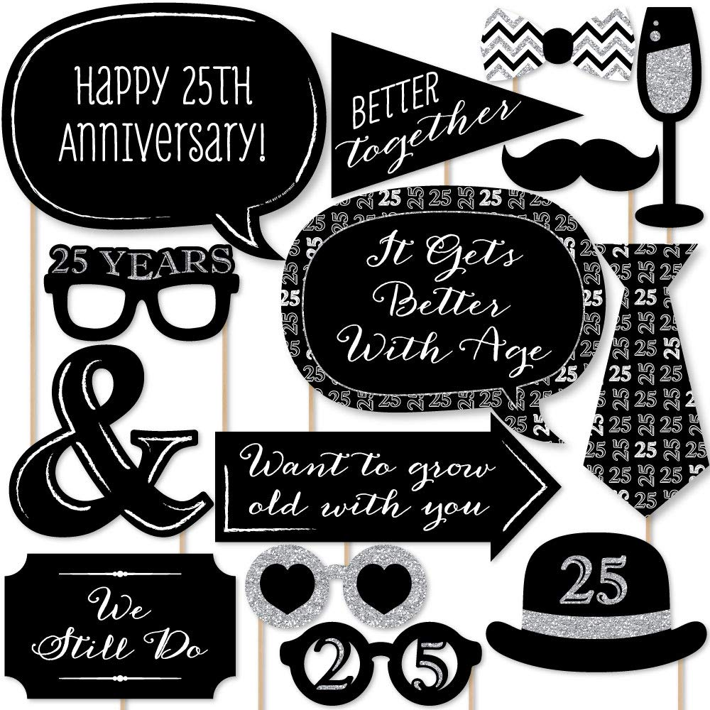 Big Dot of Happiness We Still Do - 25th Wedding Anniversary - Anniversary Party Photo Booth Props Kit - 20 Count