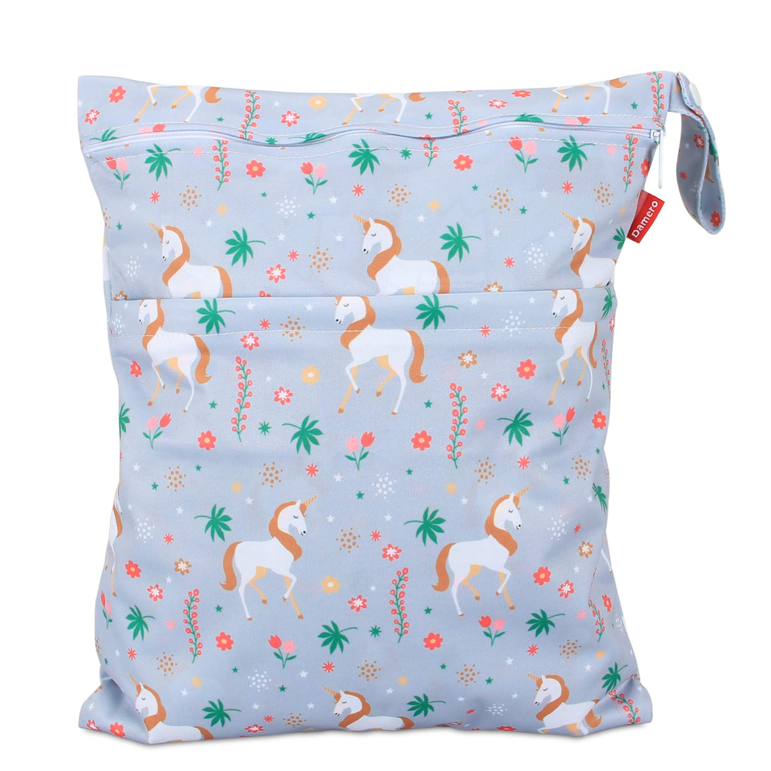 Damero Cloth Diaper Wet Dry Bag with Handle for Swimsuit, Pumping Parts, Wet Clothes and More, Ideal for Travel, Exercise, Daycare, Swimming, Reusable and Water-Resistant (Large,Unicorn)