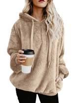 Century Star Womens Hoodie Sherpa Pullover Fleeced Sweatshirt Hooded Fuzzy Zipper Hoodies with Pockets