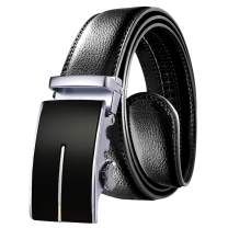 Men's Belt, OUFO Black Genuine Leather Dress Belt for Men with Automatic Buckle, Handmade Ratchet Belt Men, Trim to Fit
