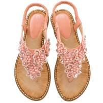 Ruiatoo Comfort Sandals for Women Bohemia T-Strap Ladies Summer Flats Sandals Rhinestone Flower Flip Flops