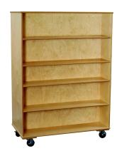 """Classroom Select 1467857 Mobile Double-Sided Book Case with Adjustable Shelf, Birch veneer, 67"""", Natural Wood Tone"""