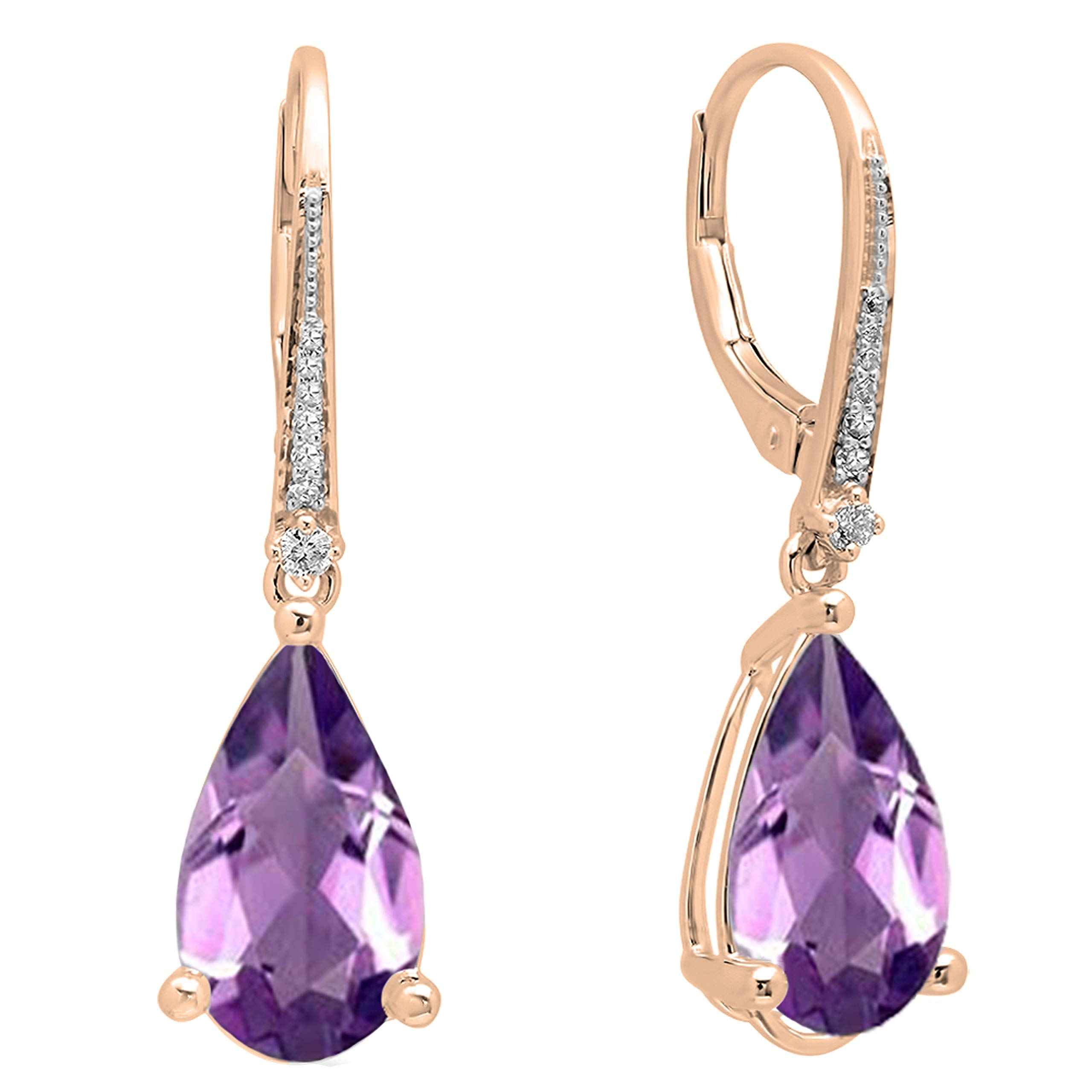 Dazzlingrock Collection 14X8 mm Each Pear Gemstone & Round White Diamond Teardrop Dangling Drop Earrings, 14K Gold