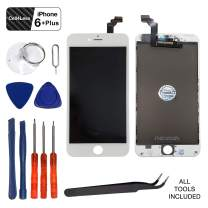 Cell4less Screen Replacement Compatible with iPhone 6 Plus 5.5 Inch LCD - 6 Plus LCD Touch Screen Display Repair Kit Assembly with Complete Repair Tools (White)