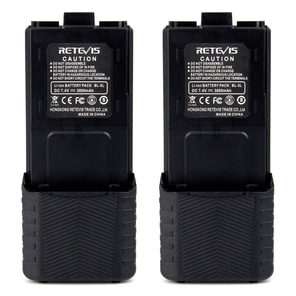 Retevis BL-5L 3800mAH 7.4V Extended Walkie Talkies Rechargeable Replacement Battery for Baofeng UV-5R Retevis RT-5R RT-5RV TYT 2 Way Radio(2 Pack)