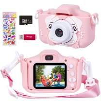 Phankey Kids Camera for Girls, 20MP 1080P Digital Camera for Kids with 32GB Card,Rechargeable, Soft Silicone Shockproof Case, Great Gift for Kids(Pink)