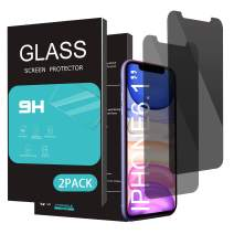 HOMEMO Privacy Screen Protector for iPhone 11/iPhone XR 6.1Inch 2 Pack Anti Spy Tempered Glass Anti Scratch Case Friendly