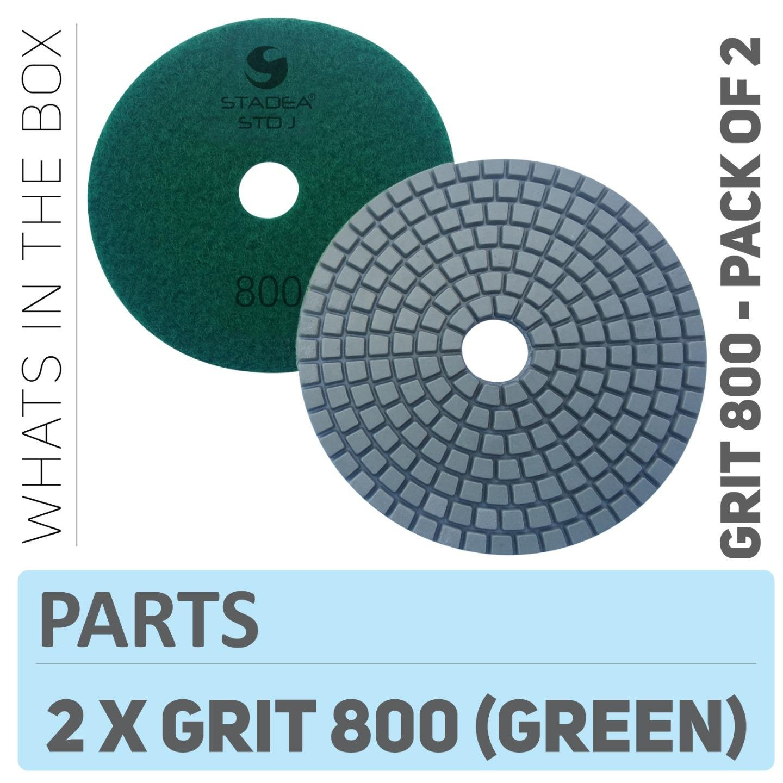 Stadea PPW125D Diamond Polishing Pads 4 Inch - For Concrete Terrazzo Marble Granite Edge Countertop Floor Wet Polishing, Grit 800 - Pack of 2
