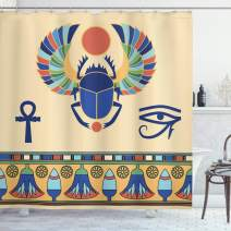 "Ambesonne Egyptian Shower Curtain, Antique Historical Culture of Scarab Eye with Ornaments Print, Cloth Fabric Bathroom Decor Set with Hooks, 70"" Long, Cream Navy"