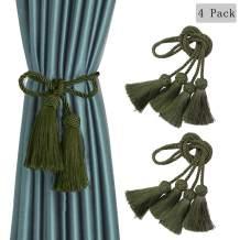 BEL AVENIR 4 Pack Curtain Handmade Tiebacks Decorative Curtain Holdbacks with Tassel (Green)